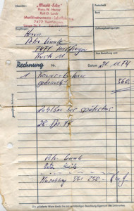 Original invoice - found in the back of the guitar